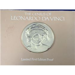 "1974 The Genius Of Leonardo Da Vinci -Limited Edition 1st Edition Proof Silver Coin ""Study For Saint"