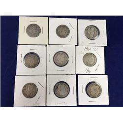 Group of Nine Barber Silver Quarters - 1896, 1897, 1899, 1900S, 1908O, 1909D, 1911, 1914, 1915D