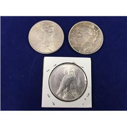 1922D, 1922, 1923 US Silver Peace Dollar Coins