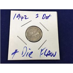 1942 New Zealand Three Pence - 1 Dot Variety & Die Flaw with Tear from V to Forehead  - High Grade