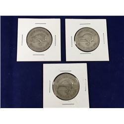 Group of Three New Zealand 1935 Silver Florin Coins