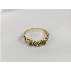 Vintage 10ct Gold Emerald & Diamond Hearts Ring - 18mm ID - Weight 1.58 Grams