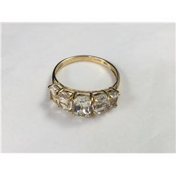 Vintage Sanuk 10ct Yellow Gold White Topaz Dinner Ring - 19.75mm ID - Weight 2.85 Grams