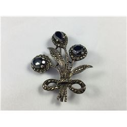 Art Deco Sterling Silver (English) & Large Marcasite Brooch - 45mm High x 35mm Wide - Weight 11.34 G