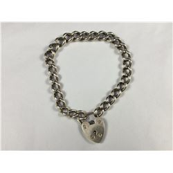 Vintage Sterling Silver (Birmingham) Heart Padlock Bracelet - 200mm Total Length - Weight 19.90 Gram