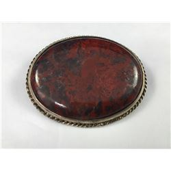 Antique Large Sterling Silver Blood Stone Brooch - 50mm x 38mm - Weight 19.30 Grams