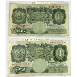 Two Old English One Pound Banknotes P.S Beale & L.K. Obrien