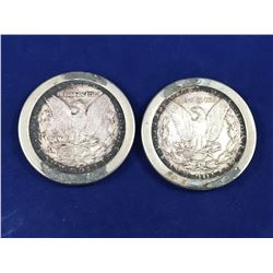 1888 & 1897 US Morgan Dollar Coins Set with Steel Surround