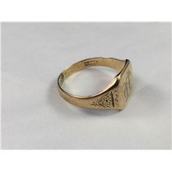 Antique 9ct Gold Mens Engraved Ring (Repaired) 19.25 MM ID - Weight 4.00 Grams
