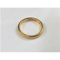 Antique 22ct Gold Band Ring - 15mm ID - Weight 2.71 Grams