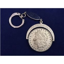 1890 US Silver Morgan Dollar Coin On Key Chain