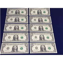 Ten UNC Consecutive US Star Replacement One Dollar Banknotes K02589501-10