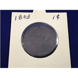 1803 US Drapped Bust One Cent Coin (Marked)