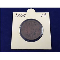 1850 US Braided Hair One Cent Coin (Better Grade)