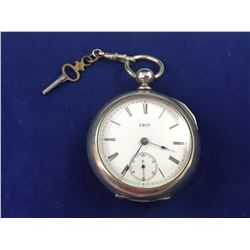 1888 Antique Illinois Watch Company Key Wind Pocket Watch with Key - Serial No. 835882