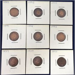 Group of Indian Head US One Cent Coins