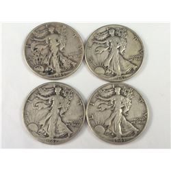 Group of Four USA Silver Walking Liberty Half Dollars - 1941, 1942, 1943, 1945