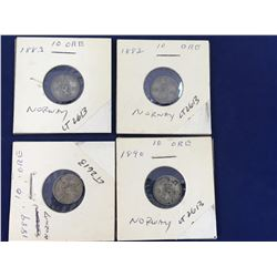 Group of Norway 10 Ore Silver Coins - 1882, 1883, 1889, 1890 - Higher Grades