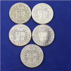 Five New Zealand Silver Half Crowns - 1933 x 3, 1934 x 2