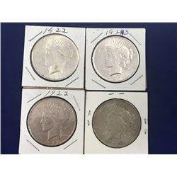 Group of Four US Silver Peace Dollar Coins 1922 x 2, 1923 x 2