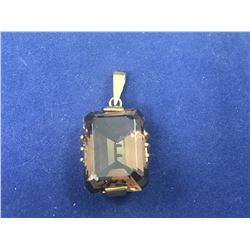 Vintage 8ct Gold Large Smokey Quartz Pendant - Total Length 32mm - Weight 6.36 Grams