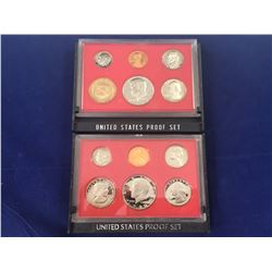 Two US Proof Sets of Coins San Fransisco Mint 1980 & 1982