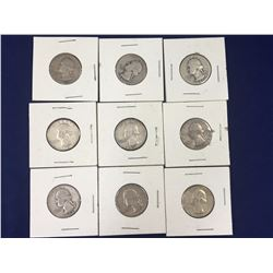 Group of Nine US Silver Washington Quarter Dollar Coins - 1941, 1943, 1944, 1950, 1953, 1961, 1962,