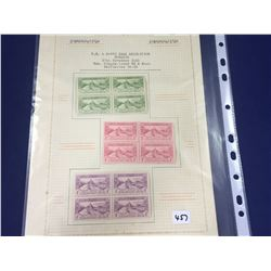 Three Sets of Four 1925 Dunedin Exhibition Mint Stamps