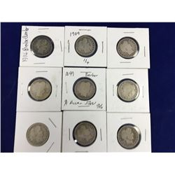 Group of Nine US Barber Silver Quarter Dollar Coins - 1892, 1895, 1898, 1899 x 2, 1901, 1909, 1914,