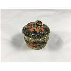 Vintage Siam Silver & Enamel Decorated Snuff Box