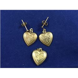 Set of 9ct Gold Heart Earrings & Heart Pendant - Length 20mm (Pendant)