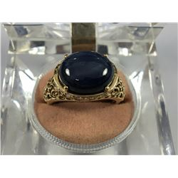 10ct Gold Ring with Large 13ct Star Sapphire Stone - 17.50mm ID - Weight 5.21 Grams