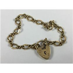 Vintage 9ct Gold Heart Paddlock Bracelet - Length 180mm - Weight 9.87 Grams