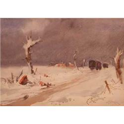 W P Starmer; a framed and glazed watercolour wintry scene  To Ypres , signed, 27 x 36cm...