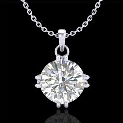 1 CTW VS/SI Diamond Solitaire Art Deco Stud Necklace 18K White Gold - REF-294N2Y - 36914