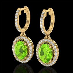 3.75 CTW Peridot & Micro Pave VS/SI Diamond Earrings Halo 18K Yellow Gold - REF-105R5K - 20330