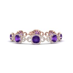 30 CTW Amethyst & VS/SI Diamond Certified Bracelet 14K Rose Gold - REF-368M9F - 23016