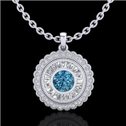 2.11 CTW Fancy Intense Blue Diamond Solitaire Art Deco Necklace 18K White Gold - REF-227K3R - 37915