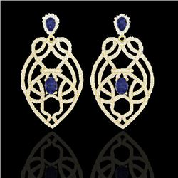 7 CTW Tanzanite & Micro Pave VS/SI Diamond Earrings Designer 14K Yellow Gold - REF-381R8K - 21144