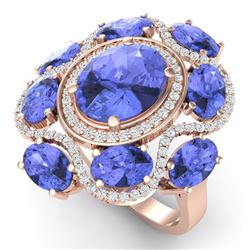 9.67 CTW Royalty Tanzanite & VS Diamond Ring 18K Rose Gold - REF-245W5H - 39301