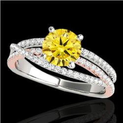 1.4 CTW Certified Si Fancy Yellow Diamond Solitaire Ring 2 Tone 10K White & Rose Gold - REF-180M2F -