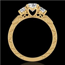 1.41 CTW VS/SI Diamond Solitaire Art Deco 3 Stone Ring 18K Yellow Gold - REF-263Y6N - 37009