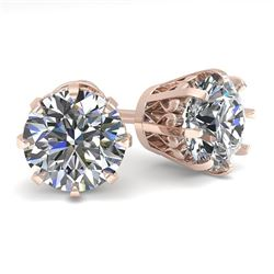 2.50 CTW VS/SI Diamond Stud Solitaire Earrings 18K Rose Gold - REF-745X5T - 35693