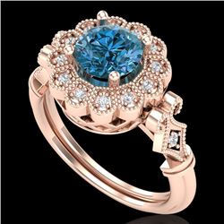 1.2 CTW Intense Blue Diamond Solitaire Engagement Art Deco Ring 18K Rose Gold - REF-218F2M - 37832