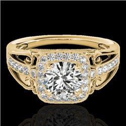 1.3 CTW H-SI/I Certified Diamond Solitaire Halo Ring 10K Yellow Gold - REF-165N6Y - 33771