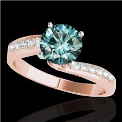 1.15 CTW SI Certified Fancy Blue Diamond Bypass Solitaire Ring 10K Rose Gold - REF-149R3K - 35069
