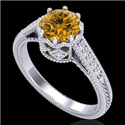 1.25 CTW Intense Fancy Yellow Diamond Engagement Art Deco Ring 18K White Gold - REF-195K5R - 37525