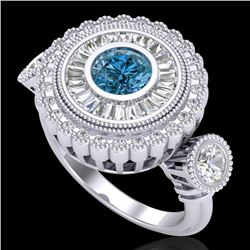 2.62 CTW Intense Blue Diamond Solitaire Art Deco 3 Stone Ring 18K White Gold - REF-290M9F - 37922