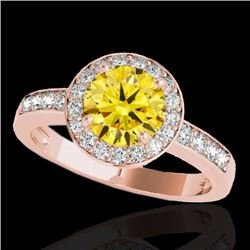 2 CTW Certified Si Fancy Intense Yellow Diamond Solitaire Halo Ring 10K Rose Gold - REF-309M3F - 343