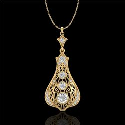 1.75 CTW VS/SI Diamond Art Deco Stud Necklace 18K Yellow Gold - REF-272M8F - 36946